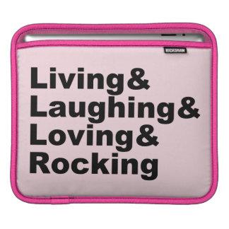 Living&Laughing&Loving&ROCKING (noir) Housse Pour iPad