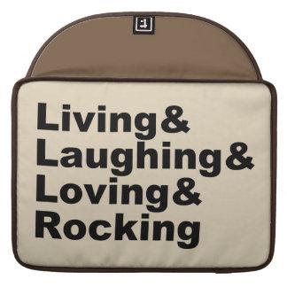 Living&Laughing&Loving&ROCKING (noir) Housse Pour Macbook
