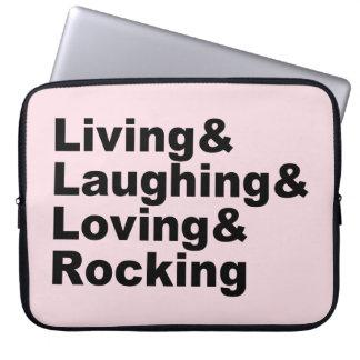 Living&Laughing&Loving&ROCKING (noir) Protection Pour Ordinateur Portable