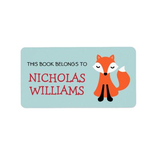 Livre animal d'ex-libris de bande dessinée mignonn étiquette d'adresse