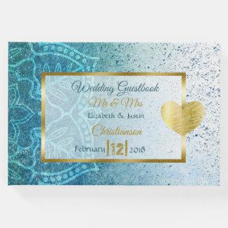 Livre bleu de mariage de coeur d'or de mandala