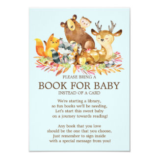 Livre de baby shower d'animaux de région boisée carton d'invitation 8,89 cm x 12,70 cm