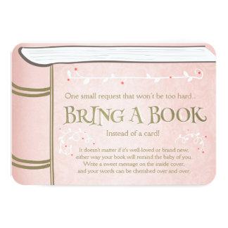 Livre de contes apportent à un livre le rose carton d'invitation 8,89 cm x 12,70 cm