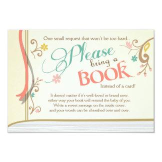 Livre de contes apportent un jaune de cru de livre carton d'invitation 8,89 cm x 12,70 cm