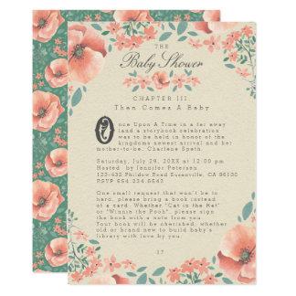 Livre de contes floral vintage de l'INVITATION | Carton D'invitation 12,7 Cm X 17,78 Cm