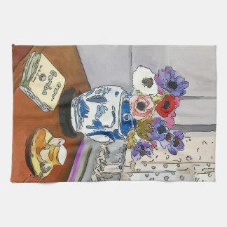Livre de gombo, fleurs, vase, après Matisse Serviettes Pour Les Mains