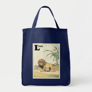 Livre de vagabondage d'histoire de lion sac en toile épicerie