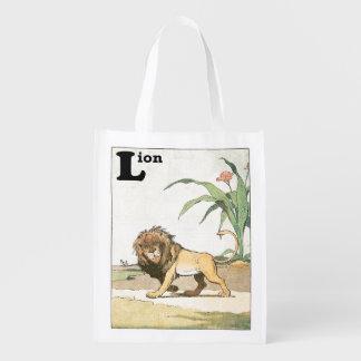 Livre de vagabondage d'histoire de lion sac réutilisable d'épcierie