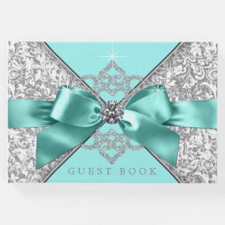 Livre d'invité argenté bleu turquoise de mariage