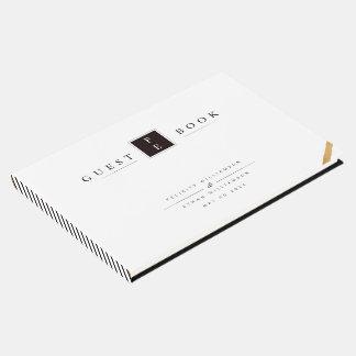 Livre d'invité blanc noir de mariage de monogramme