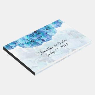 Livre d'invité bleu de mariage d'hortensia