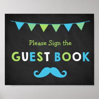 Livre d'invité bleu et vert de tableau de