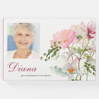 Livre d'invité commémoratif funèbre floral mou