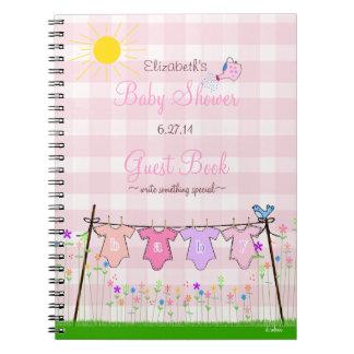 Livre d'invité de baby shower de Guingan-Fleurs de Carnets À Spirale