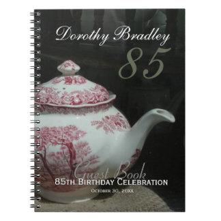 Livre d'invité de fête d'anniversaire de théière carnet à spirale