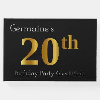 Livre d'invité de fête d'anniversaire d'or de Faux