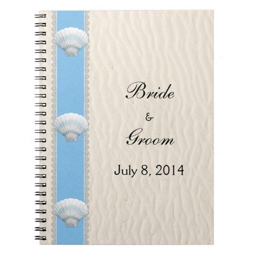 Livre d'invité de mariage de plage de coquillage carnets à spirale