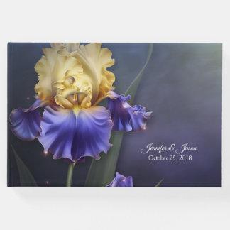 Livre d'invité de mariage d'iris violet et jaune