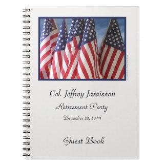 Livre d'invité de partie de retraite, drapeaux