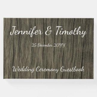 Livre d'invité élégant et rustique de mariage