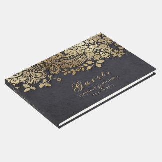 Livre d'invité élégant noir de mariage de dentelle