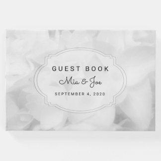 Livre d'invité fait sur commande floral blanc de