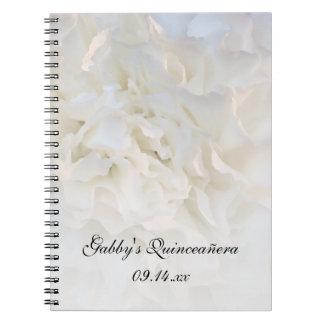 Livre d'invité floral blanc de Quinceañera Carnets