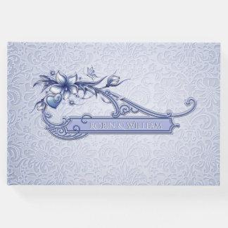 Livre d'invité floral de mariage damassé de bleu