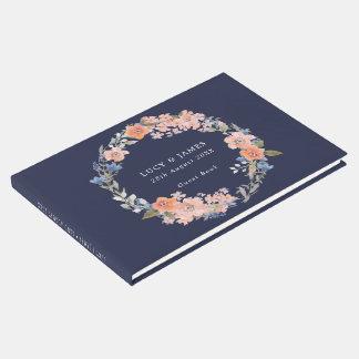 Livre d'invité floral de mariage de guirlande de