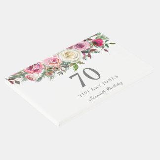 Livre d'invité floral élégant d'anniversaire de