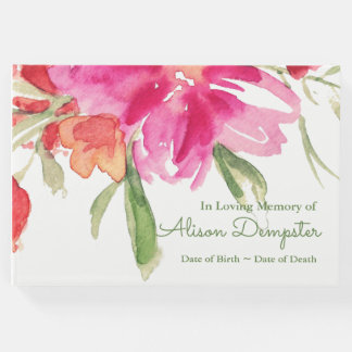 Livre d'invité funèbre commémoratif floral