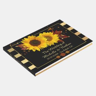 Livre d'invité rayé de mariage d'or de tournesols