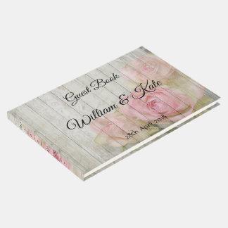Livre d'invité romantique de mariage de rose de