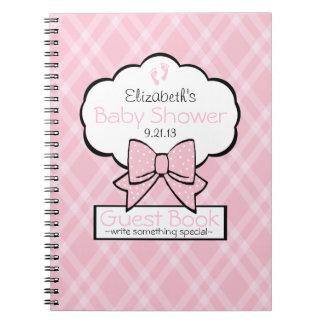 Livre d'invité rose de baby shower de guingan carnet