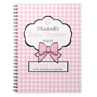 Livre d'invité rose de baby shower de guingan carnets à spirale