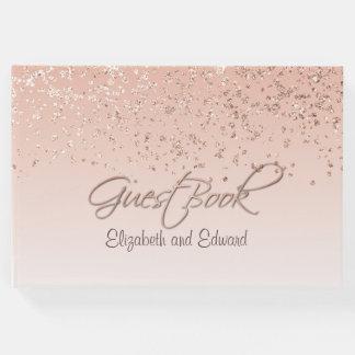 Livre d'invité rose de mariage d'or