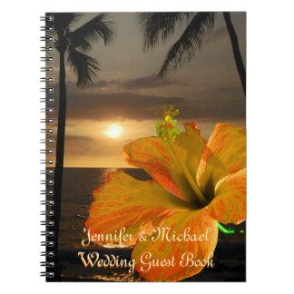 Livre d'invité tropical de mariage de ketmie de carnets à spirale