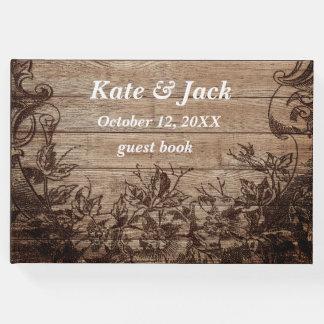 Livre d'invité vintage en bois rustique élégant de