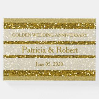 Livre D'or Anniversaire de mariage d'or de scintillement d'or