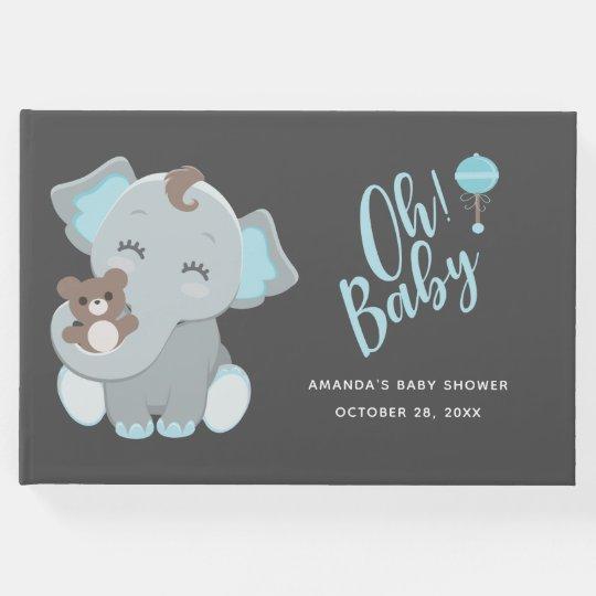 Livre D Or Baby Shower Mignon De Garcon D Elephant