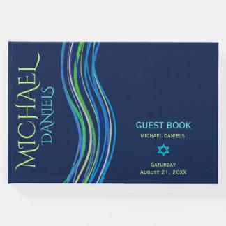 Livre D'or Barre châle bleu et vert de Mitzvah de prière