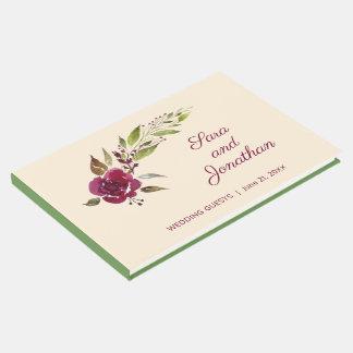 Livre D'or Bourgogne Marsala floral et verdure | épousant