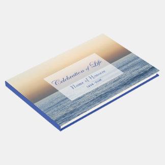 Livre D'or Célébration de bleu d'océan de mémorial de la vie
