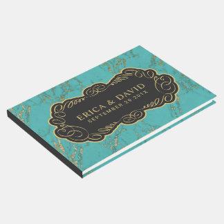 Livre D'or Élégant de marbre moderne de turquoise et d'or