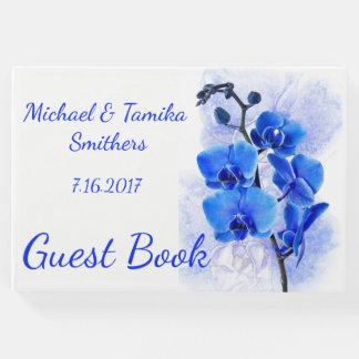 Livre D'or Épouser personnalisé d'orchidées bleues
