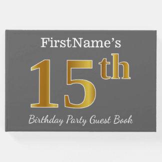 Livre D'or Gris, fête d'anniversaire d'or de Faux 15ème + Nom