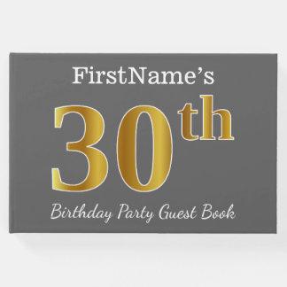 Livre D'or Gris, fête d'anniversaire d'or de Faux 30ème + Nom