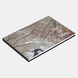 Livre D'or Guestbook en bois rustique de mariage de