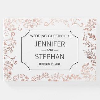 Livre D'or Guestbook floral de mariage d'or élégant de rose