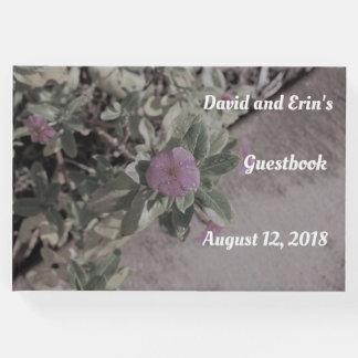 Livre D'or Guestbook floral pourpre de mariage